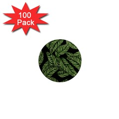 Leaves Painting Black Background 1  Mini Magnets (100 Pack)