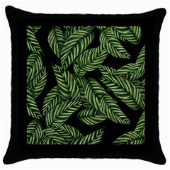 Leaves Painting Black Background Throw Pillow Case (black) by AnjaniArt