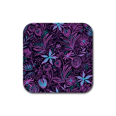Stamping Pattern Leaves Purple Rubber Square Coaster (4 Pack)