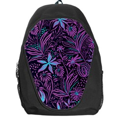 Stamping Pattern Leaves Purple Backpack Bag by AnjaniArt