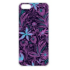 Stamping Pattern Leaves Purple Iphone 5 Seamless Case (white)