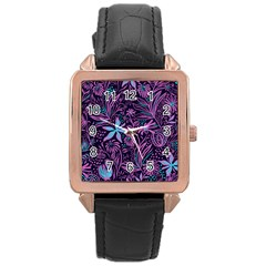 Stamping Pattern Leaves Purple Rose Gold Leather Watch
