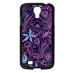 Stamping Pattern Leaves Purple Samsung Galaxy S4 I9500/ I9505 Case (black)