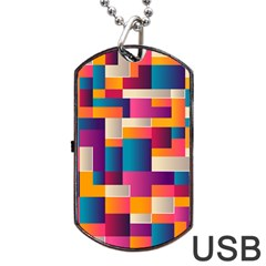 Abstract Geometry Blocks Dog Tag Usb Flash (two Sides) by Bajindul