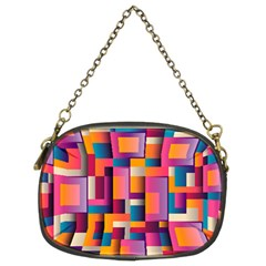 Abstract Background Geometry Blocks Chain Purse (two Sides)