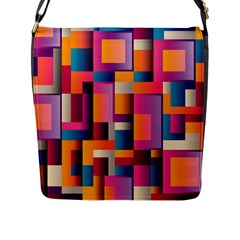 Abstract Background Geometry Blocks Flap Closure Messenger Bag (l)