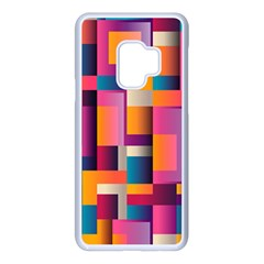 Abstract Background Geometry Blocks Samsung Galaxy S9 Seamless Case(white)