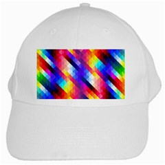 Abstract Blue Background Colorful Pattern White Cap by Bajindul