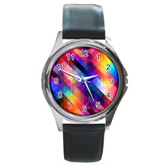 Abstract Background Colorful Pattern Round Metal Watch