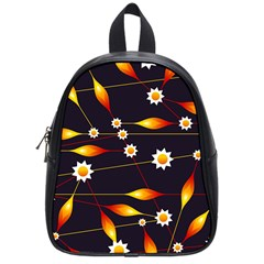 Flower Buds Floral Background School Bag (small)