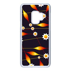 Flower Buds Floral Background Samsung Galaxy S9 Seamless Case(white) by Bajindul