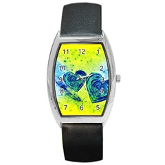 Heart Emotions Love Blue Barrel Style Metal Watch