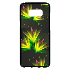 Floral Abstract Lines Samsung Galaxy S8 Plus Black Seamless Case
