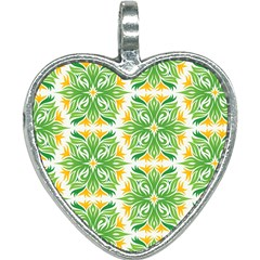 Green Pattern Retro Wallpaper Heart Necklace by Bajindul