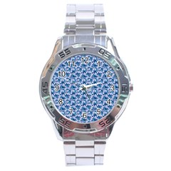 Blue Pattern Scrapbook Stainless Steel Analogue Watch
