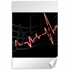 Music Wallpaper Heartbeat Melody Canvas 20  X 30  by Bajindul