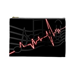 Music Wallpaper Heartbeat Melody Cosmetic Bag (large) by Bajindul