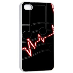 Music Wallpaper Heartbeat Melody Iphone 4/4s Seamless Case (white)