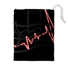 Music Wallpaper Heartbeat Melody Drawstring Pouch (xl) by Bajindul