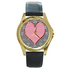 Heart Stripes Symbol Striped Round Gold Metal Watch by Bajindul