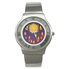 Night Moon Flora Background Stainless Steel Watch by Bajindul
