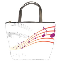 Music Notes Clef Sound Bucket Bag by Bajindul