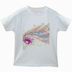 Music Notes Abstract Kids White T Shirts by Bajindul
