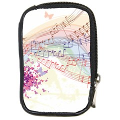 Music Notes Abstract Compact Camera Leather Case by Bajindul