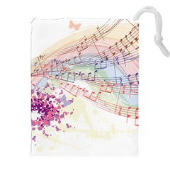 Music Notes Abstract Drawstring Pouch (xxl) by Bajindul