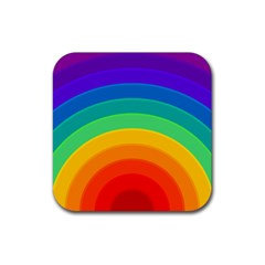 Rainbow Background Colorful Rubber Coaster (square)  by Bajindul