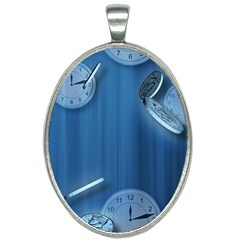 Time Clock Watch Hours Oval Necklace by Bajindul