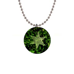 Star Blue Star Space Universe 1  Button Necklace by Bajindul