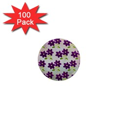 Purple Flower 1  Mini Magnets (100 Pack)