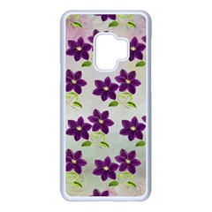 Purple Flower Samsung Galaxy S9 Seamless Case(white)