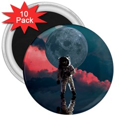 Astronaut Moon Space Planet 3  Magnets (10 Pack)