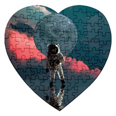 Astronaut Moon Space Planet Jigsaw Puzzle (heart) by Pakrebo