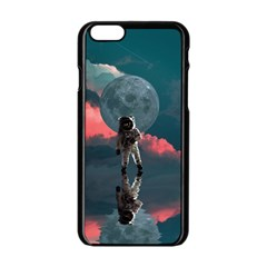 Astronaut Moon Space Planet Iphone 6/6s Black Enamel Case by Pakrebo
