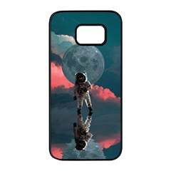 Astronaut Moon Space Planet Samsung Galaxy S7 Edge Black Seamless Case by Pakrebo