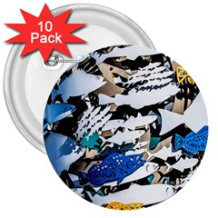 Art Fish Salmon Sydney Metal 3  Buttons (10 Pack)