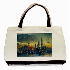City Metro Pole Buildings Basic Tote Bag (two Sides)