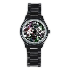Abstract Background Science Fiction Stainless Steel Round Watch