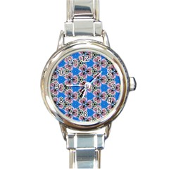 Pattern Sequence Motif Design Plan Floral Round Italian Charm Watch