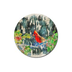 Texture Art Decoration Abstract Bird Nature Magnet 3  (round)