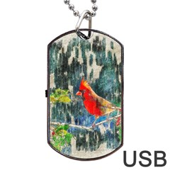 Texture Art Decoration Abstract Bird Nature Dog Tag Usb Flash (two Sides) by Pakrebo