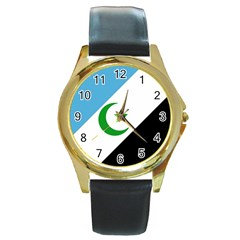 Flag Of Shabak People Round Gold Metal Watch