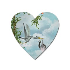 Funny Stork With Creepy Snake Baby Heart Magnet by FantasyWorld7