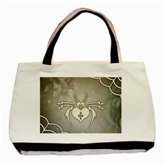 Wonderful Decorative Spider With Hearts Basic Tote Bag (two Sides) by FantasyWorld7