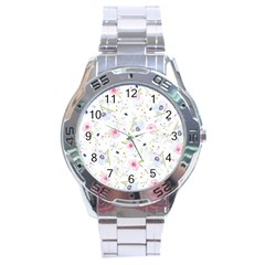 Floral Pattern Background Stainless Steel Analogue Watch