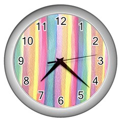 Watercolour Watercolor Background Wall Clock (silver)