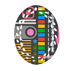 Abstract Background Colors Shapes Oval Filigree Ornament (two Sides)